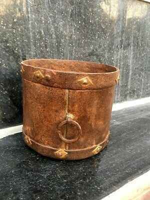 Antique Old Iron Hand Forged Brass Work Big 6 x 5 Inch Grain Pot Planter Pot