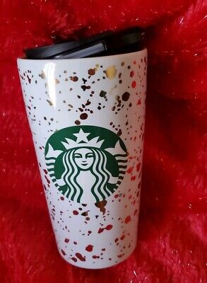 Starbucks 2019 Holiday Confetti Ceramic Travel Tumbler White and Gold Christmas