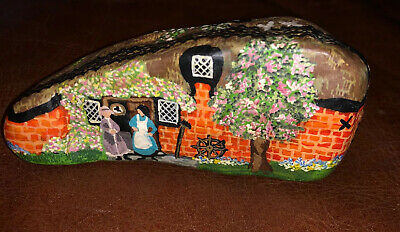Exquisite, finely detailed painted stone pebble art cottage signed Carol McGill
