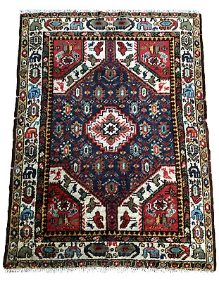 Antique Vintage Mid-Century Hand Knotted Wool Design Old Carpet Rare Rug 20th