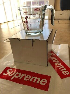 Supreme Pyrex 2-Cup Measuring Cup Clear Fw19 Accessory Red White Box Logo Cdg