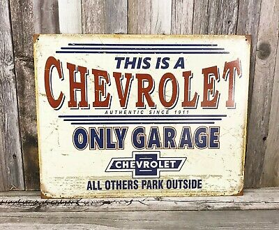 Chevy Only Garage Rustic Retro Tin Metal Sign 16 x 13in