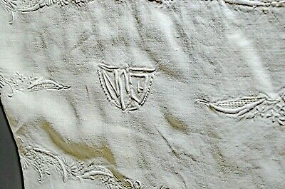 Vintage Heavily EMBROIDERED Linen TABLECLOTH with Openwork ENJ Mono VV210C