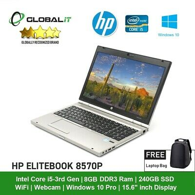 "HP EliteBook 8570p - Core i5 3rd Gen - 8GB RAM - 240GB SSD - 15.6"" - Win 10"