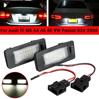 2x LED License Number Plate Light Lamp Canbus For Audi A4 B8 A5 A6 S5 TT Q5 VW