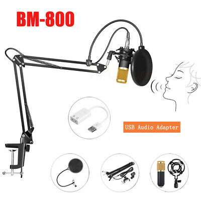 BM800 Condenser Microphone Mic Kit w/ USB Audio Adapter Studio Microphone Stand