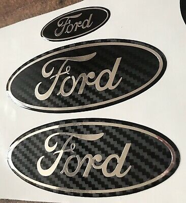 Ford Focus ST MK2 / Mk3 X 3 Gel Badges Overlay Full Set Carbon/Chrome