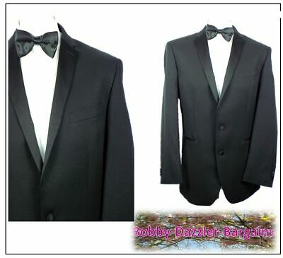 "Taylor & Wright Mens Black striped Dinner Tuxedo suit Ch42""R W38"" L31"" Washable"