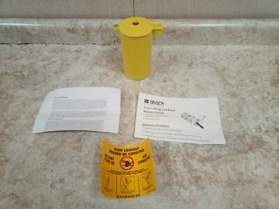 Brady PLO23 1/4 In Padlock Shackle Max Dia Yellow Thermoplastic Plug Lockout