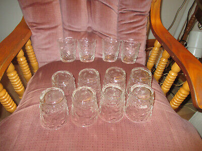 "Set of 12 Vintage On the Rock/Juice Glasses Textured Clear Glass 3 3/8"" t x 3""w"