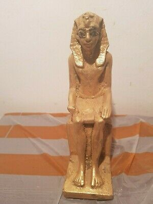 Rare Antique Ancient Egyptian Statue King Ramses uniify Crown Throne1279–1213BC