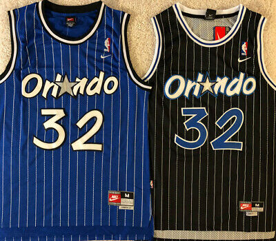 NEW Shaq Shaquille O'Neal #32 Orlando Magic Men's Throwback Black / Blue Jersey