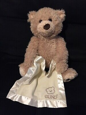 Baby Gund Peek-A-Boo Animated Talking Tan Teddy Bear w/ Blanket-Battery operated