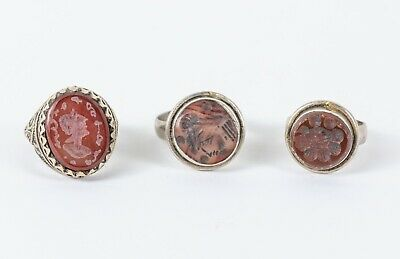 Set of antique Sassanid style agate seal rings
