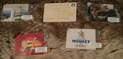 Starbucks Rare and Special-Edition Collection Of Five Gift Cards
