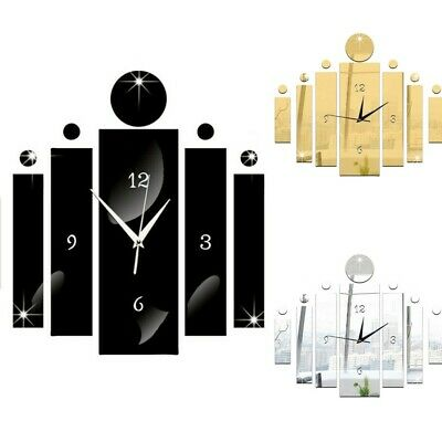 3D Large Number Mirror Art Clock Wall Sticker Big Watch Home Room DIY Decor