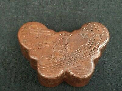 Unique Collected China Old Copper Hand Carving Fisherman Butterfly Snuff Ink Box