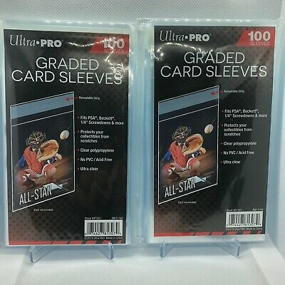 200 Ultra Pro Graded Card Sleeves with Resealable Strip Fits: PSA,Beckett +more