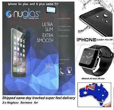 For iPhone 4 5 6P 7 8 42mm 38mm x xs Tempered Glass Screen Proglass or NUGLAS 2X