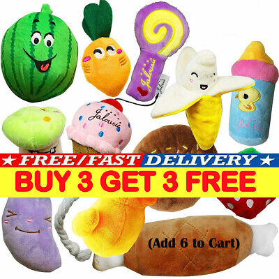 Pet Dog Soft Chew Toy Puppy Doggy Plush Sound Eggplant Carrot Squeaker Toy YY