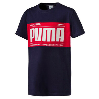 Puma Retro Junior Boys Tee Logo Top Short Sleeve T-Shirt Navy 852551 06 A72B