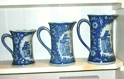Set of 3 Vintage Chinese Blue & White Graduated Jugs