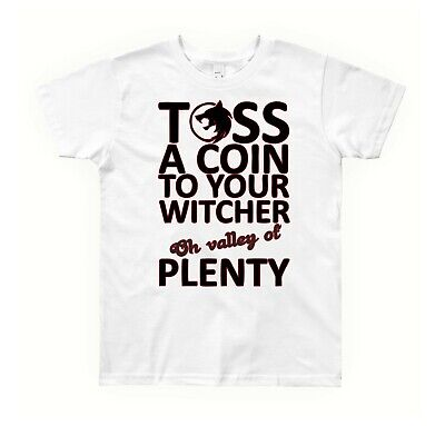 toss a coin to your witcher mens womens kids white tshirt ts470