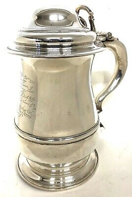 Antique Solid Silver George II Lidded Tankard Of Baluster Form 1752 London