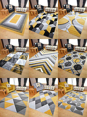 Modern Hand Carved Ochre Gold Grey Mustard Small Extra Large Size House Rugs