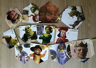 2 Personalized Birthday Banner Shrek Donkey Cat in Boot Children Party Poster
