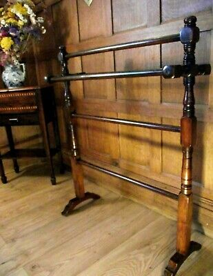 Victorian Towel Rail Stand C1890 in Mahogany - Arts and Crafts Towel Rail