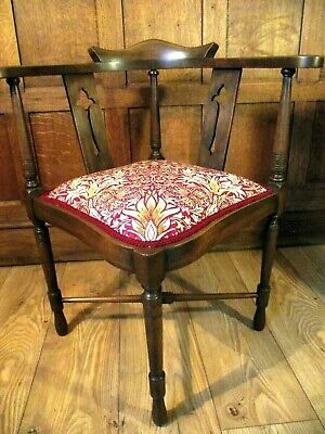 Arts and Crafts Chair Circa 1900 - All New Upholstery - William Morris Fabric