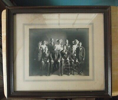 Vintage Black and White Framed Photo of Large Family - Hubbard, Iowa