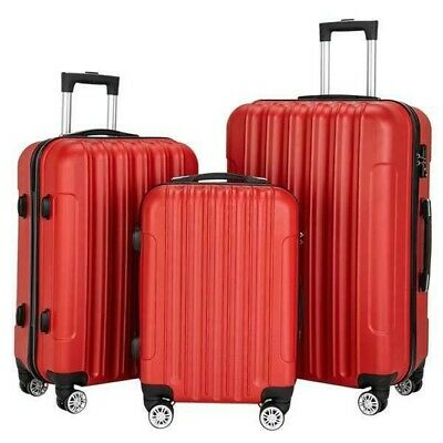 "Set of 3 Luggage Set ABS Trolley Suitcase 360° Spinner Wheels 20"" 24"" 28"" Red"