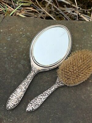 Antique Sterling S. Kirk & Son Repousse Hand Mirror & Hairbrush Set