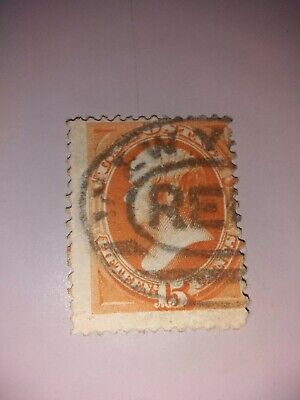 1879 Vintage US Stamp Orange Daniel Webster 15c Scott #189 w/3 cancel