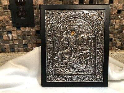 """Byzantine Orthodox St George 950 Degrees Silver Icon, Made in Greece, 11 x 9""""+/-"""