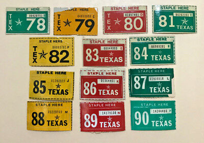 (choice) Texas license plate sticker, years 1978-1990