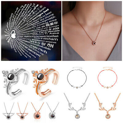 I LOVE YOU In 100 Languages Light Projection Heart Necklace Girlfriend Jewelry