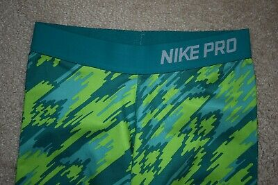 NIKE PRO DRI-FIT Girls Poly Spandex Capri Leggings Multi Green Size Large