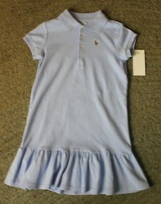 Polo Ralph Lauren Girls Blue Short Sleeve Dress - Size 5 - NWT