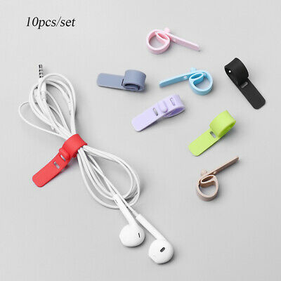 Silicone Cord Clip USB Wire Tie Cable Winder Earphone Cable Ptotector