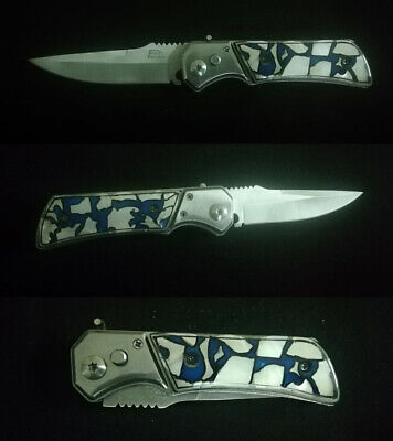 Tactical Force Assisted Pocket Folding Knife Custom Handle Pearl Inlay Art R-105