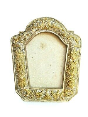 Vintage Frame Picture Floral Metal Wood Antique Ornate Gold Photo Small Convex