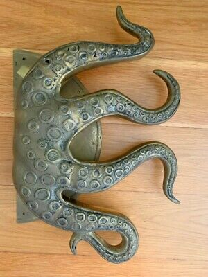"""USED massive OCTOPUS Brass hollow hand dull Door PULL HANDLE 18"""" aged natural"""