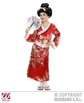 Childrens Girls Red Geisha Costume Outfit for Kimono Oriental Fancy Dress Up