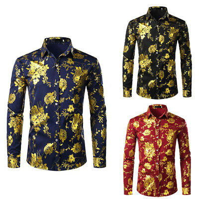 Mens Luxury Rose Gold Shiny Flowered Printed Stylish Button Down Shirt 3 Colors
