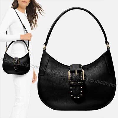 NWT🌹Authentic Michael Kors Lillian Buckle Leather Small Shoulder Bag Black Gold