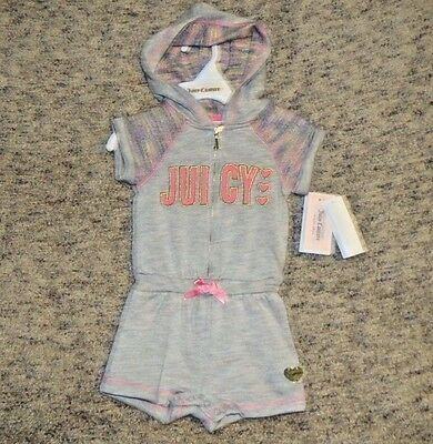 Juicy Couture Baby Girls Gray Hooded Romper - Size 18 Months - NWT