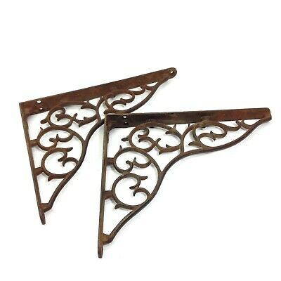 Pair of Antique or Vintage Ornate Cast Iron Brackets Shelf Brackets